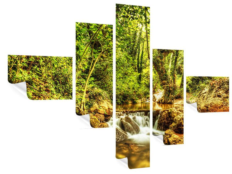 Poster 5-teilig modern Wasserfall im Wald