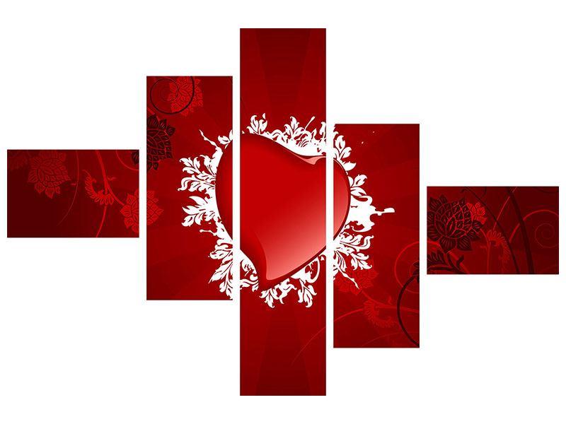 Poster 5-teilig modern Flying Heart