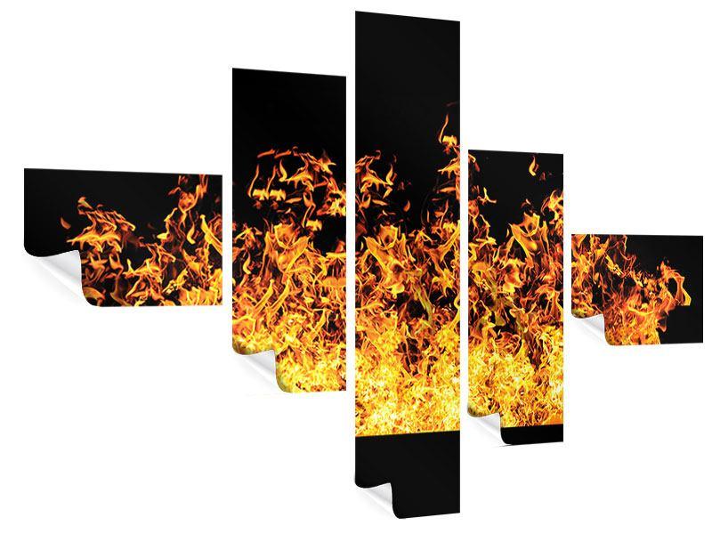 Poster 5-teilig modern Moderne Feuerwand