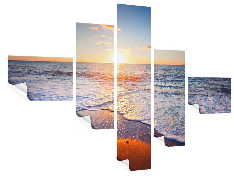 Poster 5-teilig modern Sonnenuntergang am Horizont