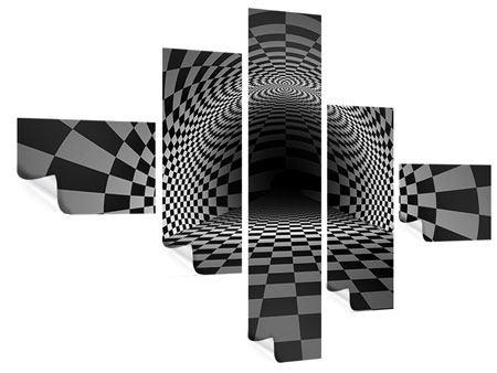 Poster 5-teilig modern Abstraktes Schachbrett