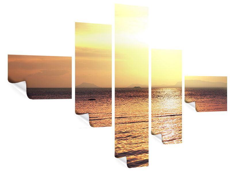 Poster 5-teilig modern Sonnenuntergang an der See