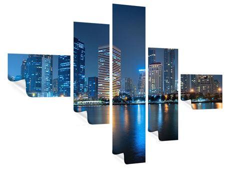 Poster 5-teilig modern Skyline Bangkok bei Nacht