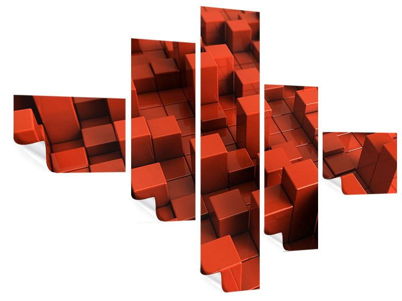 Poster 5-teilig modern 3D-Rechtkant