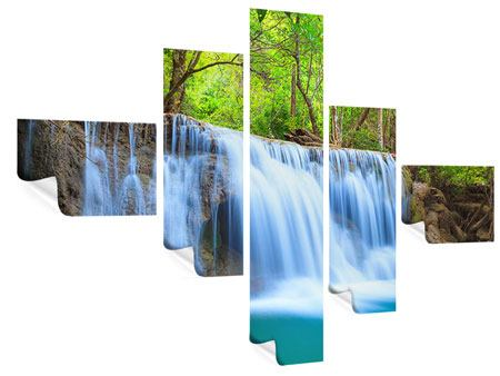 Poster 5-teilig modern Wasserfall Si Nakharin