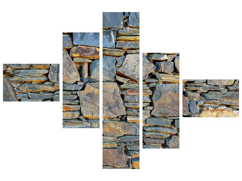 Poster 5-teilig modern Natürliche Steinmauer