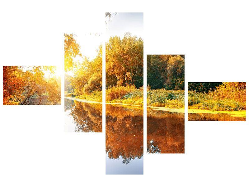 Poster 5-teilig modern Waldspiegelung im Wasser