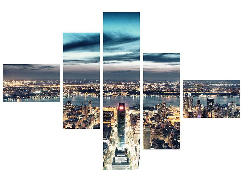 Poster 5-teilig modern Skyline Manhattan Citylights