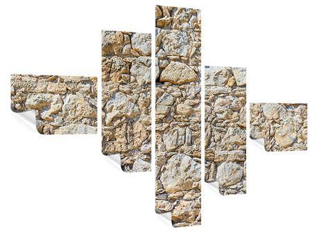 Poster 5-teilig modern Sandsteinmauer