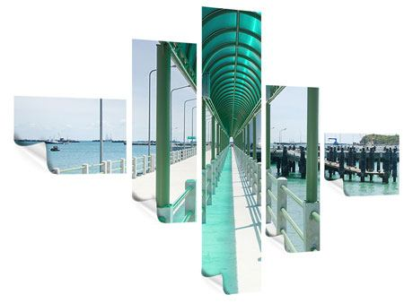 Poster 5-teilig modern Die Brücke am Meer