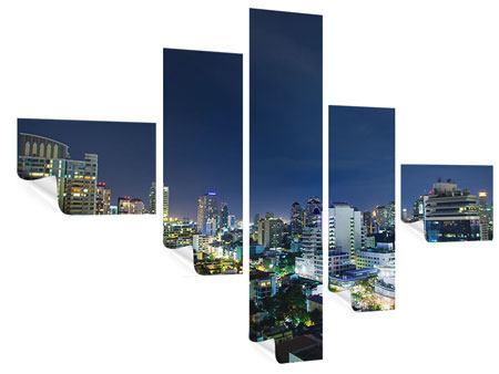 Poster 5-teilig modern Skyline Nachts in Bangkok
