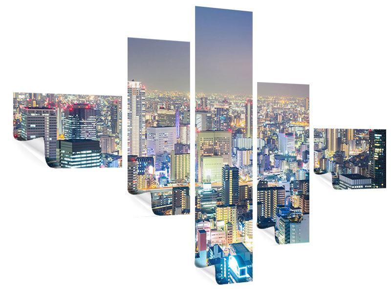Poster 5-teilig modern Skyline Osaka bei Sonnenuntergang