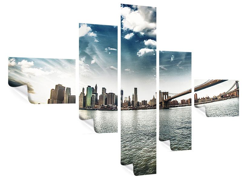 Poster 5-teilig modern Brooklyn Bridge From The Other Side