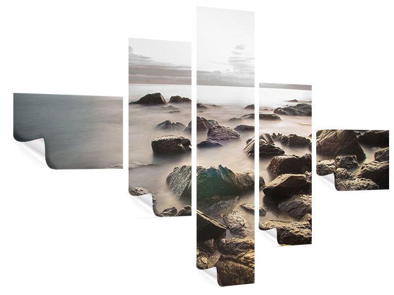 Poster 5-teilig modern Steine am Strand