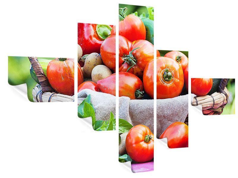 Poster 5-teilig modern Gemüsekorb