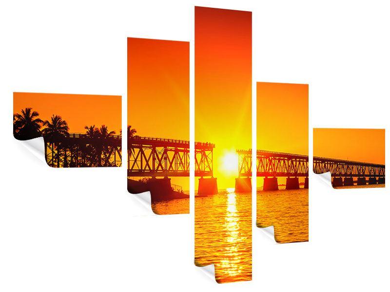Poster 5-teilig modern Sonnenuntergang an der Brücke
