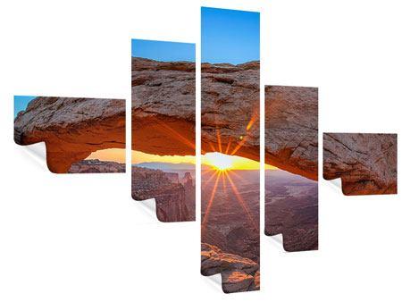 Poster 5-teilig modern Sonnenuntergang am Mesa Arch