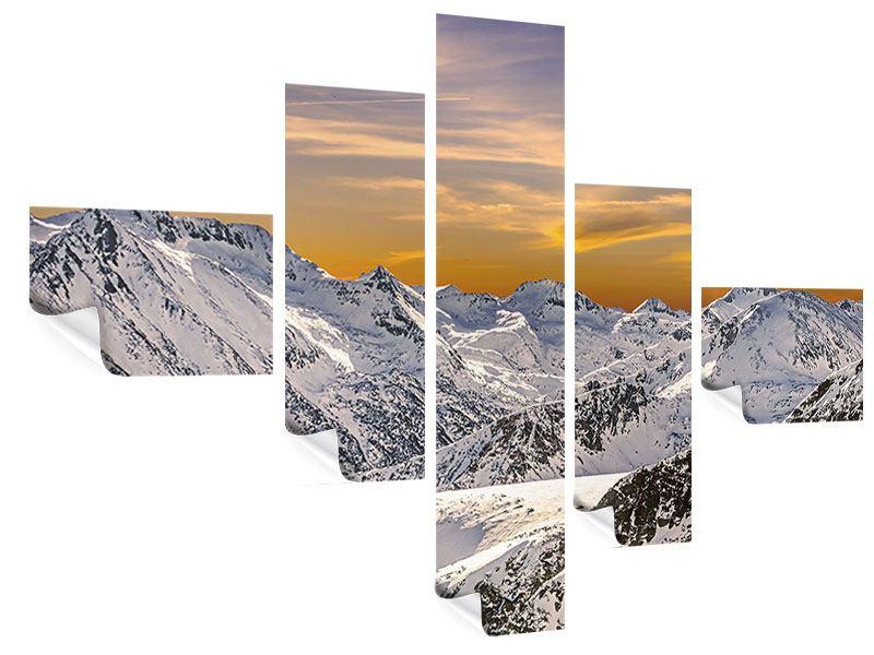 Poster 5-teilig modern Sonnenuntergang in den Bergen