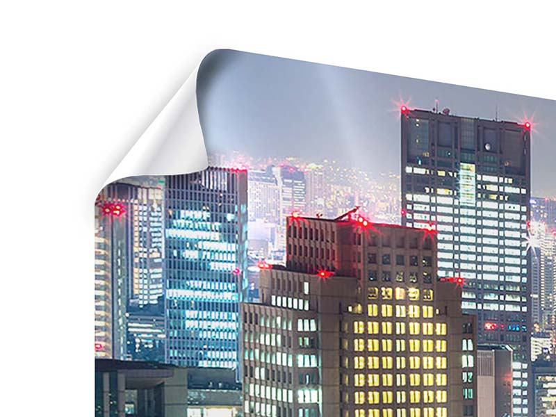 Poster 5-teilig modern Skyline Osaka im Lichtermeer