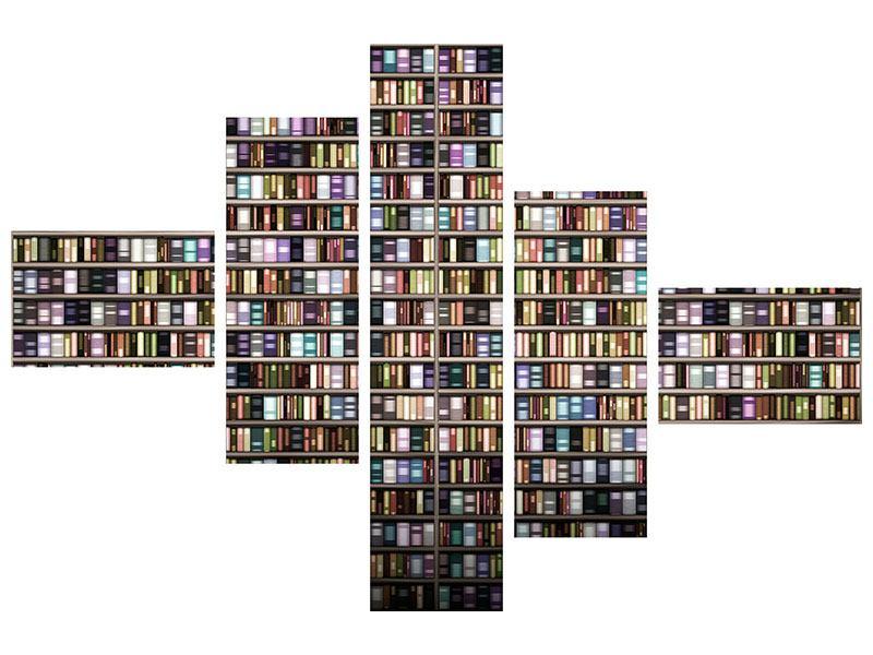Poster 5-teilig modern Bücherregal