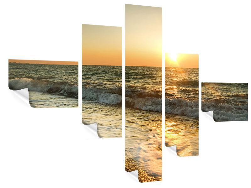 Poster 5-teilig modern Sonnenuntergang am Meer