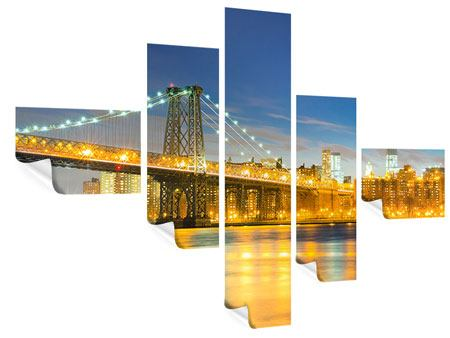 Poster 5-teilig modern Brooklyn Bridge bei Nacht