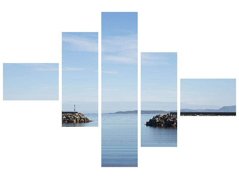 Poster 5-teilig modern Hafenmauern