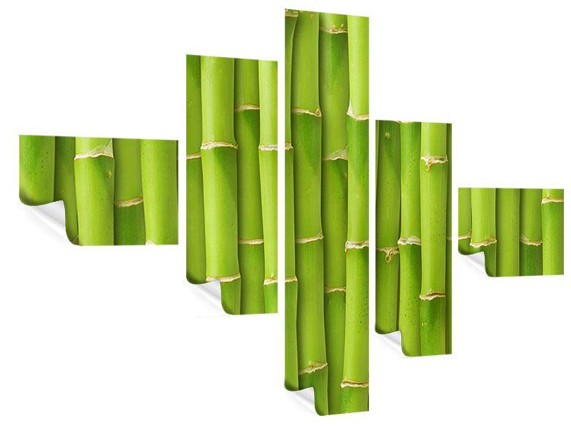 Poster 5-teilig modern Bambuswand