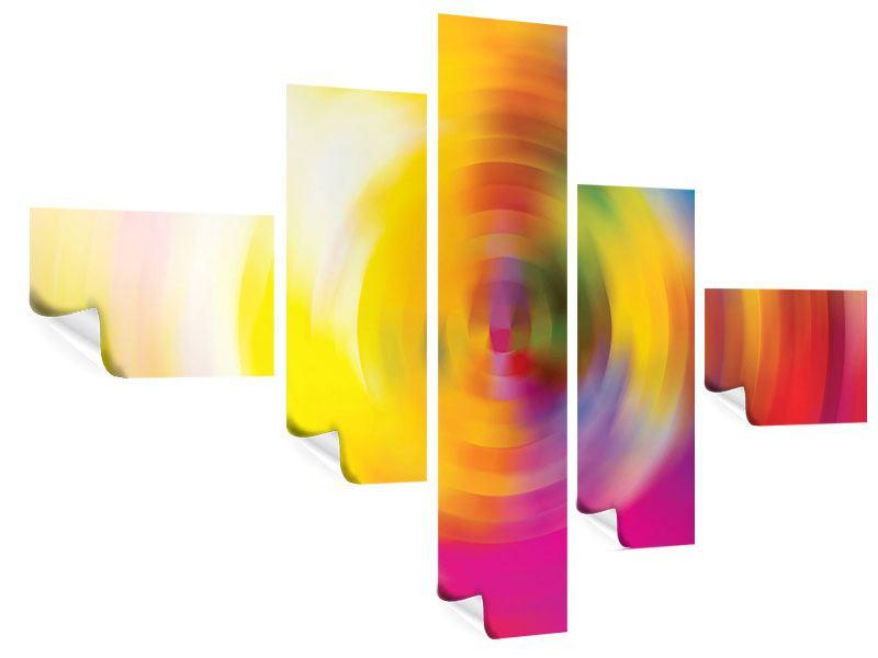 Poster 5-teilig modern Abstrakte Farbkreise