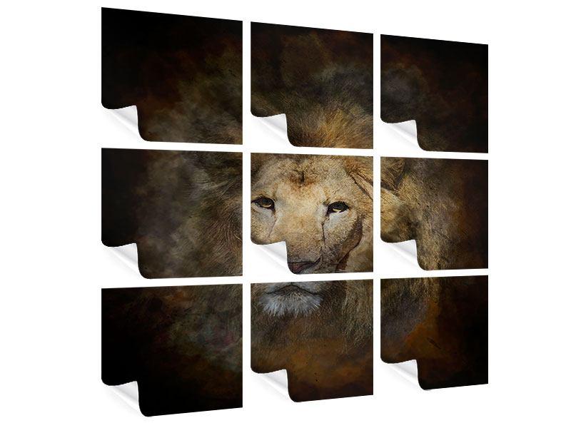 Poster 9-teilig Löwenportrait