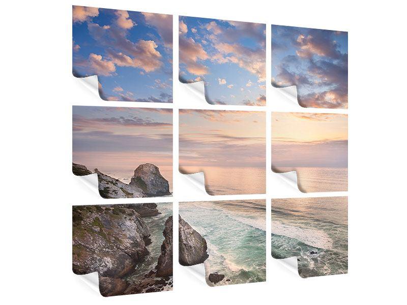 Poster 9-teilig Romantischer Sonnenuntergang am Meer