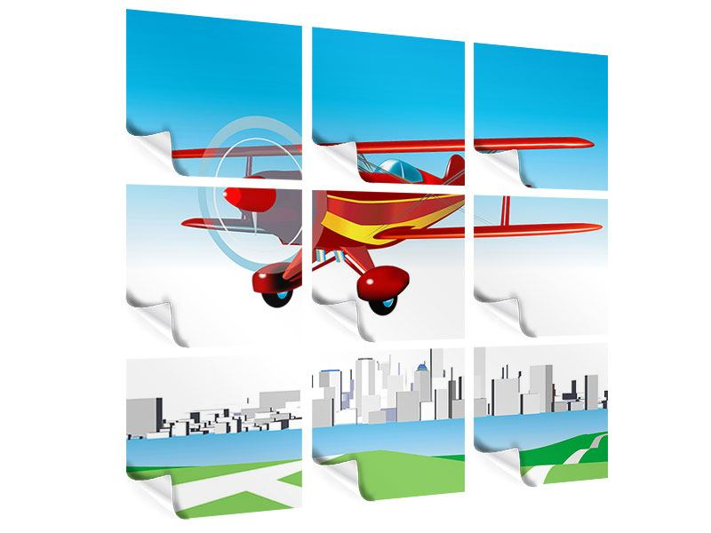 Poster 9-teilig Fliegendes Flugzeug