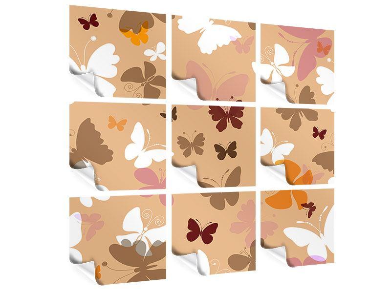 Poster 9-teilig Retrodesign Schmetterlinge