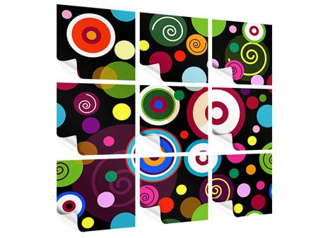 Poster 9-teilig Bunte Retrolook Kreise