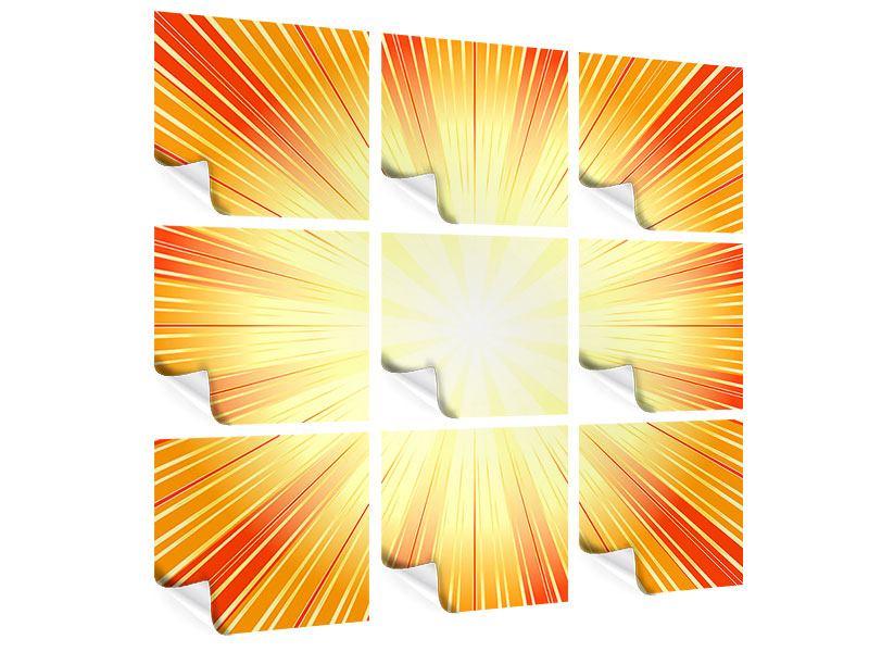 Poster 9-teilig Abstrakte Retro Sonne