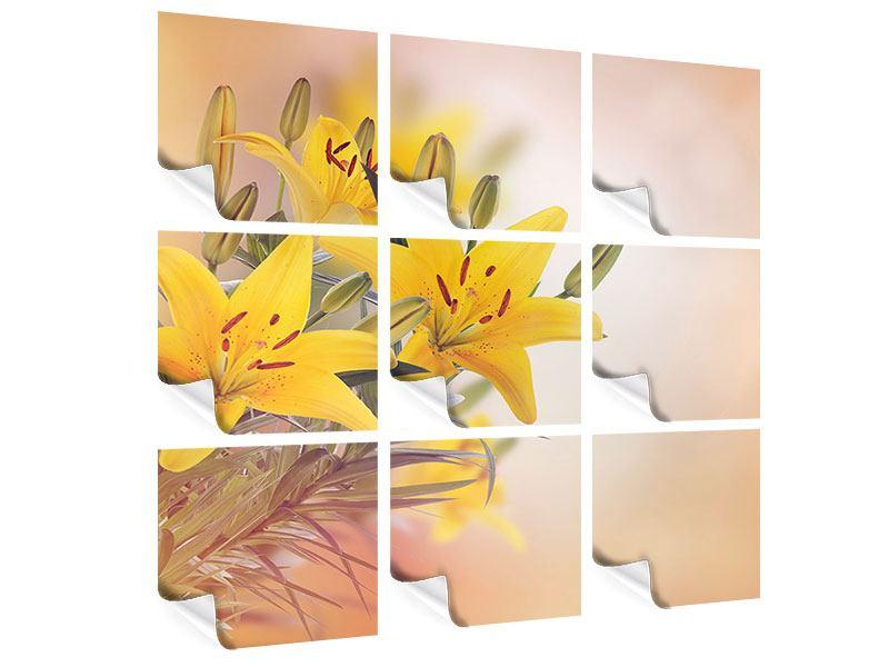 Poster 9-teilig Gelbes Lilientrio