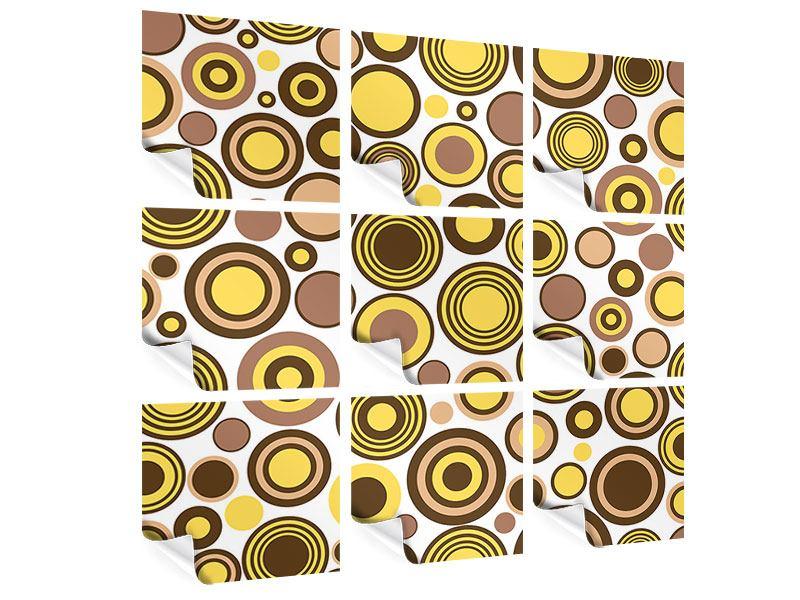 Poster 9-teilig Kreise im Retrodesign