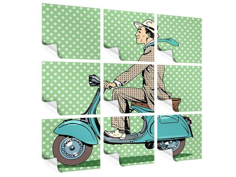 Poster 9-teilig Pop Art Vespafahrer