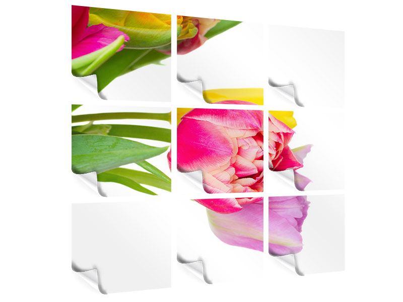 Poster 9-teilig Ein bunter Tulpenstrauss