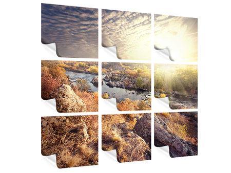 Poster 9-teilig Sonnenaufgang am Fluss