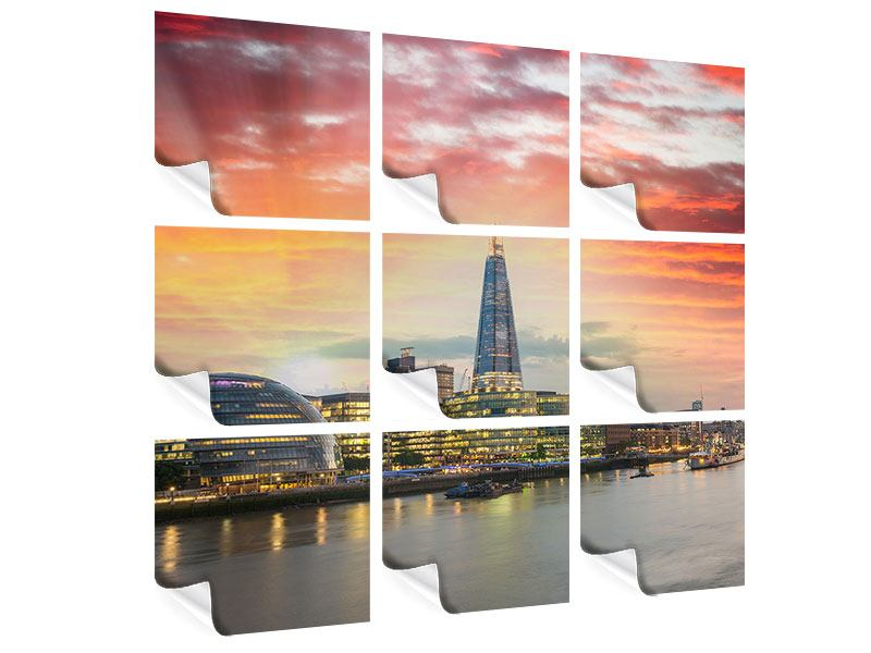 Poster 9-teilig Skyline London im Abendrot