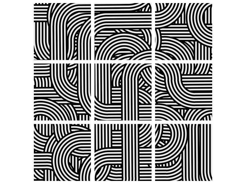 Poster 9-teilig 3D Black & White