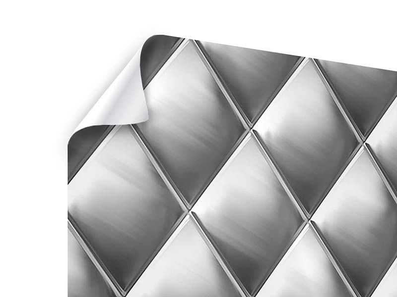 Poster 9-teilig 3D-Rauten Silbergrau
