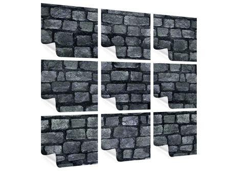 Poster 9-teilig Graue Steinmauer
