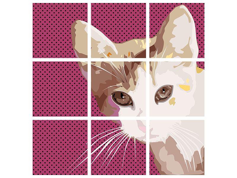 Poster 9-teilig Pop Art Katze