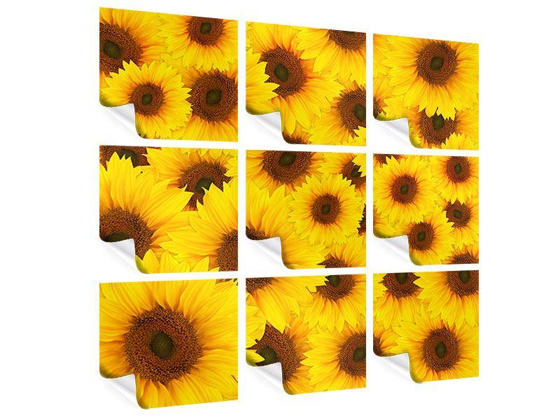 Poster 9-teilig Ein Strauss Sonnenblumen