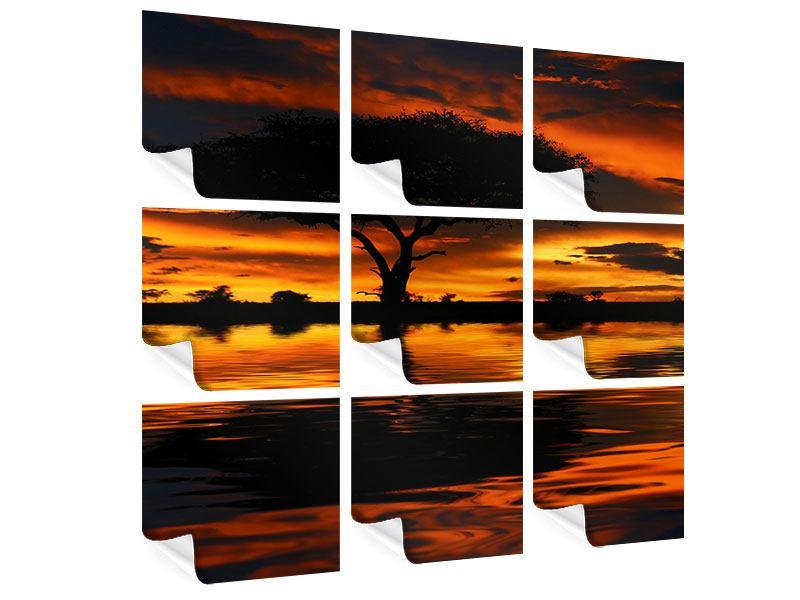 Poster 9-teilig Sonnenuntergang in Kenia