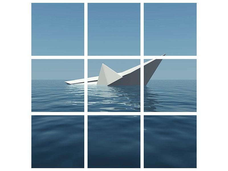 Poster 9-teilig Papierschiffchen