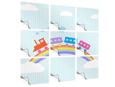 Poster 9-teilig Der Regenbogenzug