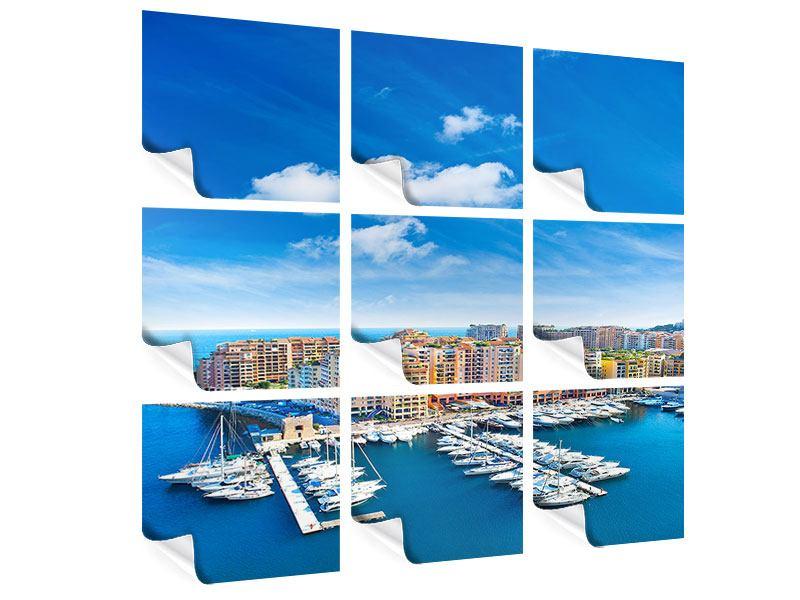 Poster 9-teilig Skyline Panoramablick Jachthafen Monaco